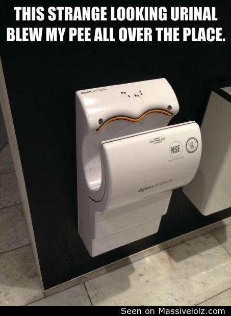 funny image Airblade urinal